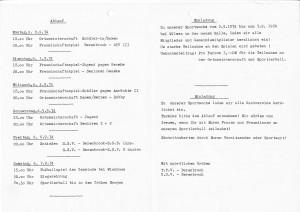 Einladung Sportwoche anlässlich Erweiterungsbau 1974-2