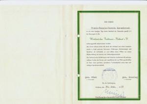 WTTV Urkunde Aufnahme TTV Berenbrock 1972-2